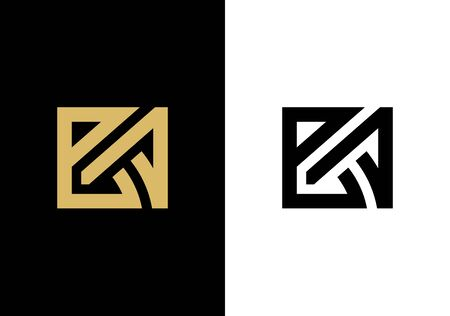 Outstanding BA initial based letter logo icon, gold and black color vector illustration Иллюстрация