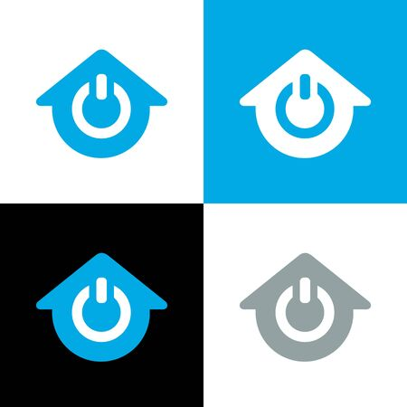 House power logo, home power off icon, vector illustration design