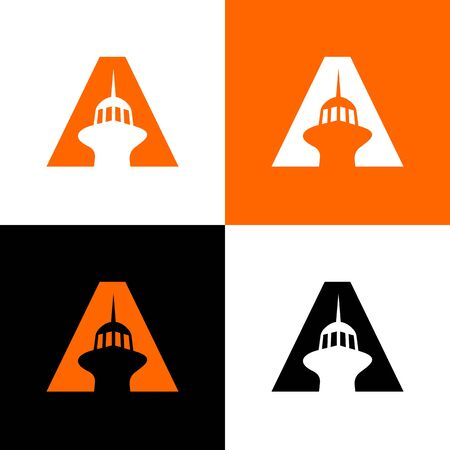Initial letter A and tower, light house logo icon design template elements