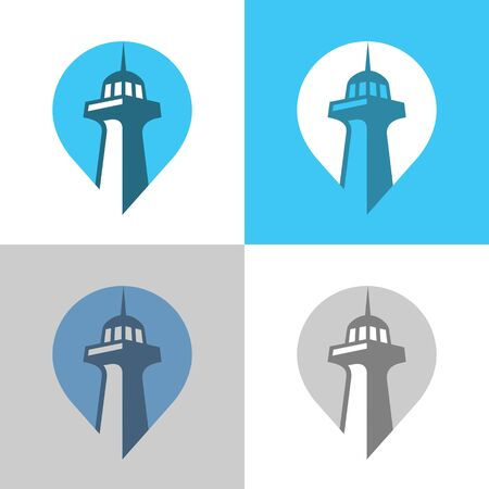 Map pointer and lighthouse, vector logo template, tower icon design