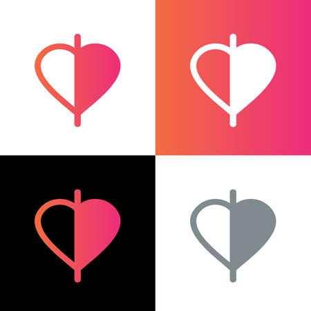 Half hearted logo icon design, abstract love symbol - Vector
