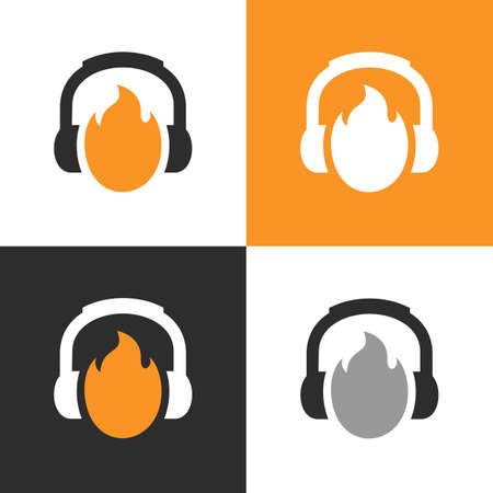 Fire podcast logo template, headset and flame icon, burning headphone symbol