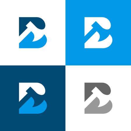 Letter B axe logo template elements, ax icon design, pickaxe or hatchet symbol - Vector