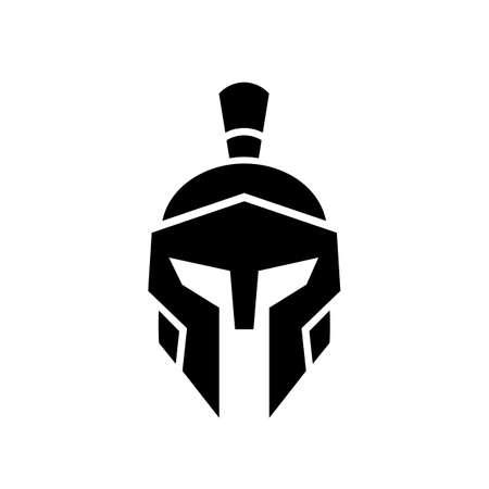 Spartan warrior helmet logo icon, sparta knight symbol, front view vector illustration