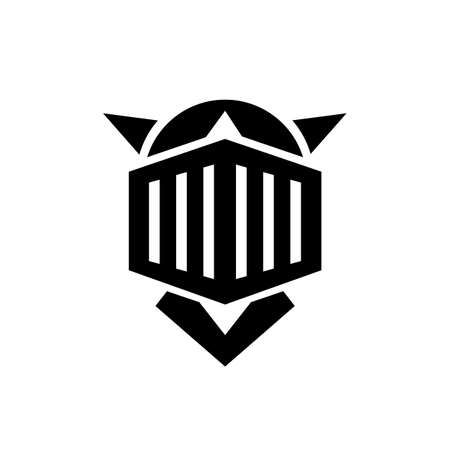 Knight helmet logo design, medieval armor icon design - Vector