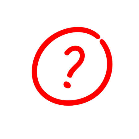Question mark sign inside a circle, hand drawn vector illustration
