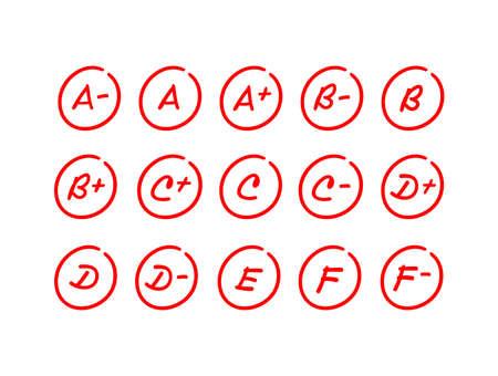 Set of exam results, red letter grade mark inside a circle, hand drawn test score illustration - Vector Vektoros illusztráció