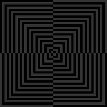 Abstract hypnotic pattern, geometric background illustation, black and grey color 向量圖像