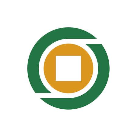 Letter O money coin logo icon design template, square shape inside a circle - Vector
