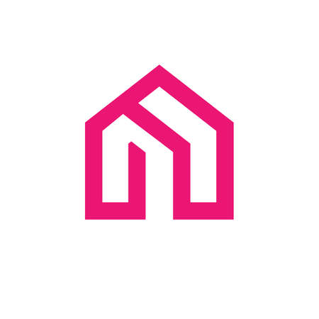 Home logo vector, line art icon of a house, real estate logo, linear style symbol