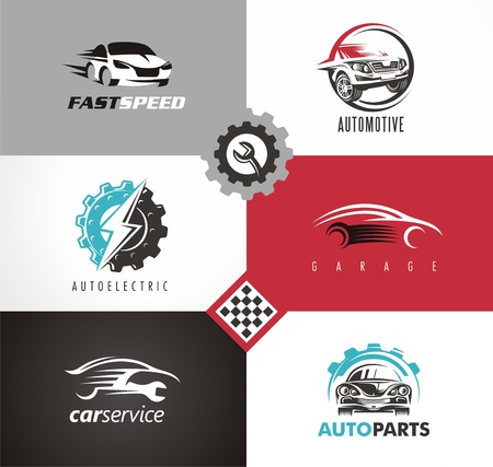 Cars symbols creative design elements set. Çizim