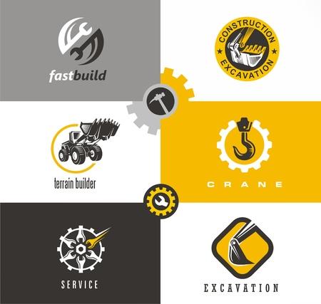 Bouw- en bouwsymbolen en logo-ontwerpen met bulldozer, kraan, graafmachine, moersleutel gereedschap en versnellingen. Stockfoto - 80396914