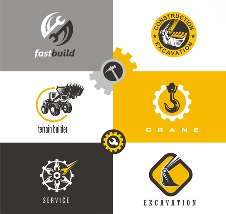 Construction and building symbols and logo designs set with bulldozer, crane, excavator, wrench tools and gears. Иллюстрация