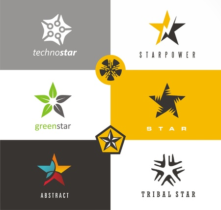 Star shape logo designs ideas. Set of vector star symbols, icons, emblems and design elements.