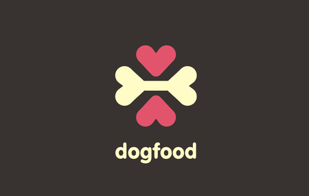 Pet food logo. A prudent sign of care to pets. Clever pet vector symbol. The importance of proper diet for pets. Illustration