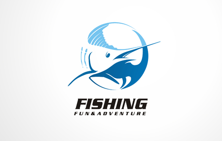 Seafood symbols, icons signs or logo collection. Marlin fish vector illustrations for fishing, fishing boat, seafood restaurant or seaside inn.