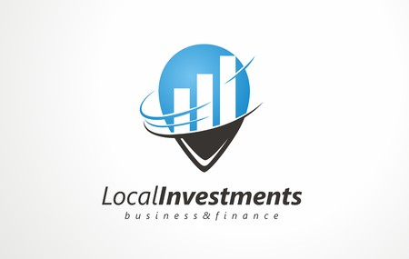 Vector logo for business and finance. Safe bet and investment growth sign. Income growth shown graphically. Refund of invested money icons. Chart bar from the success achieved in the company. Ilustração