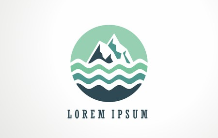 Abstract image of mountain and water. Perfect logo template for outdoor or nature lovers and healthy life. Sign, symbol, icon vector of fresh mountain water. Çizim