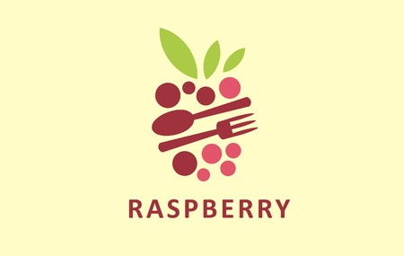 Stylized graphic logo symbol of berries. Digital icon sign of raspberry. Useful logo vector icon for many kind of berry fruits.