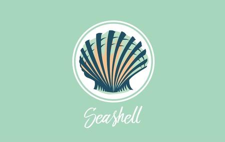 Seashell design vector logo. Scallop seashell image useful as logos, icon, sign, symbol, label, badge. Standard-Bild - 122947563