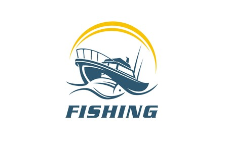 Fish, fishing boat symbol, sign, icon, vector illustration of sea food restaurant. Literature display of sport event on the water. Fishing boat on adventure on ocean, lake, river, or sea. Ilustração