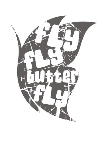 Cool butterfly vector design. Optimistic textual solution in negative space for t shirt or poster. Иллюстрация