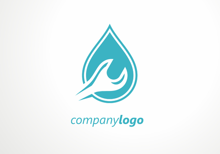 Plumbing logo key tool water. Sewage water pipe faucet repairman. Logotype tools sanitary  fix. Plumber toilet graphic bathroom work.