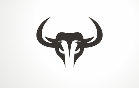 Animal bison bull angry logo. Bull head aggression aggressive business. Beef beast buffalo icon vector. Wild sign horn cow strong logotype. Stock Illustratie