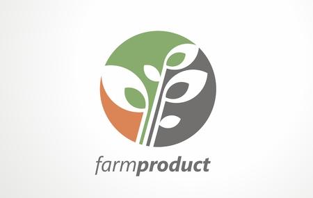 Farm product grain organic logo. Food vector vegetables mark country. Garden vegan agronomy bio farmer. Vegetarian market green fresh nature. Banque d'images - 122947700