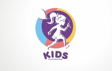 Girl kids children play school. Balloons friends game child. Childhood cute design friendship fun. Happy kid logo love playground icon.