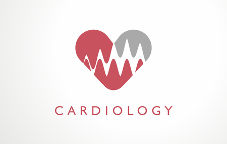 Cardiology clinic heart logo hospital. Red medicine pulse blood vector. Heart rate organ artery cardiologist. Idea health symbol medical icon.  イラスト・ベクター素材