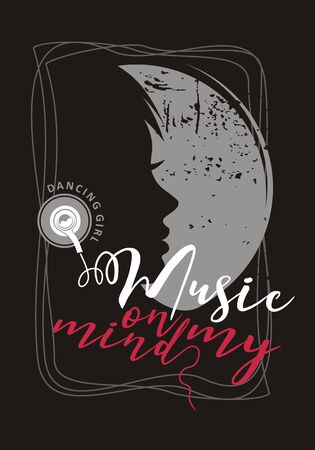 Music on my mind. Dancing girl sound club. Music dancer feel classic party. Sign festival concert design. Artist style note shirt vector instrument.