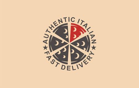 Pizza food pizzeria cafe. Fast food logotype cheese menu lunch. Restaurant service icon sign tomato. Delivery  Italian authentic cooking dinner.
