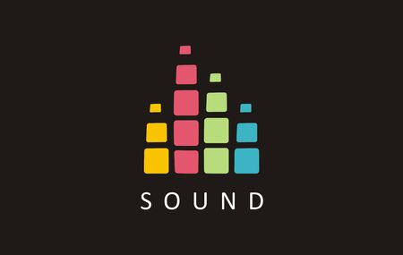 Sound musicm music notes festival. Art emblem graphic melody. Illustration song vector harmony frequency. Symbol design ear volume icon. Ilustracja