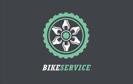 Bike service logotype icon. Vector illustration symbol sign. Bicycle biker design repair wheel  rent tools.