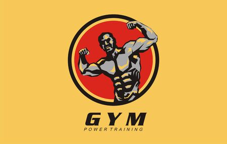 Gym power training design logo. Vector for gym club. Sign, symbol, icon or pic with muscle man in characteristic pose for bodybuilder. Gym fitness healthy life style. Concept muscular training.