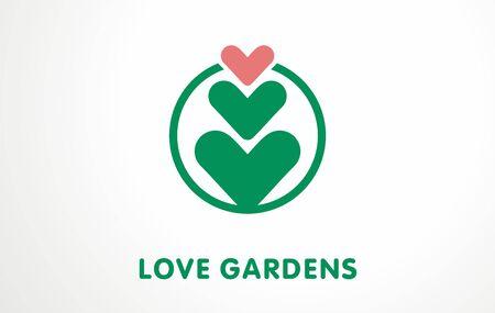 Unique vector symbol for plant lovers. Simple logo, sign flower i shape of hearth. Garden breeding design. Botany decoration.
