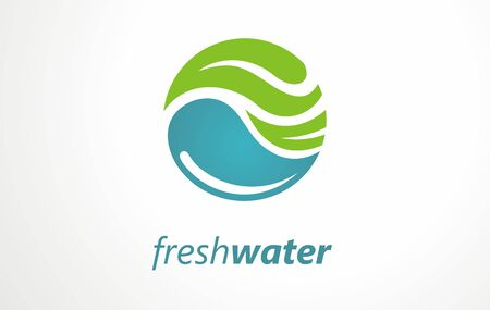 Water drop and swirl symbol or icon. Creative logo design ideas for fresh mountain spring water. Vector graphic.
