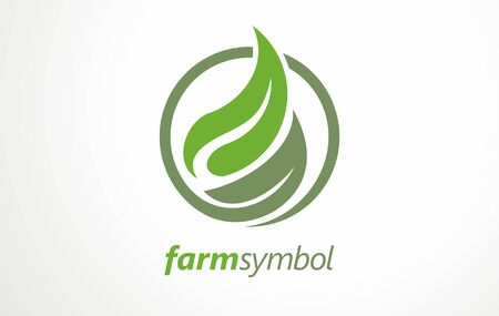 Healthy food lovers. Fresh farm food logo design concept in circle. Stylized symbols and signs for vegan or vegetarian food. Vector emblem green layouts. Stock fotó - 132555120