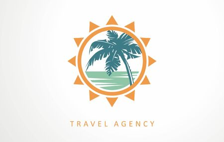 Travel, vacation, tour logo designs vector. Creative impression of summer vacation symbols, icons and design elements. EPS 10 vector image. Ilustracja