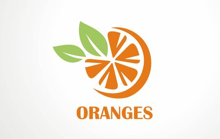 Orange logo illustration. Fresh juice drink for hot summer day from south citrus. Vector symbol sign design of fruit. Healthy nature business product. Required supplement for cocktail bar.