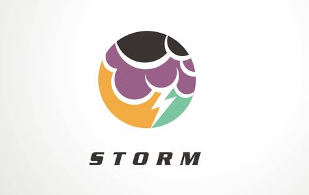 Cloudy vector illustration design. Symbol, sign, icon of sky thunder.