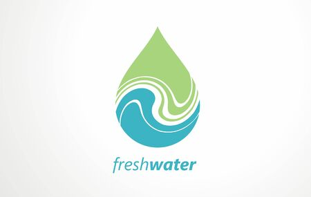 Creative design ideas for fresh green mountain spring water. Vector graphic. Water drops and swirls symbol, icon, sign.