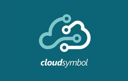 Cloud company identity. Unique symbol for android smart technology. Start up business concept. Electronic transfer data icon. Illustration