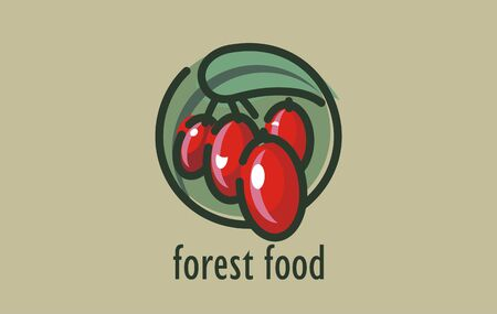 Descriptive vector logo design of healthy forest food. Naturally healthy self-sown organic fruit symbol. Stylized graphic sign organic forest fruitage. Organic berry fruits or juice sign.