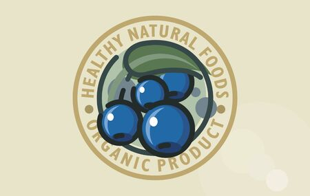 Stylized vector logo design of healthy blueberry forest food. Naturally healthy self-sown organic cornelian cherry symbol. Dogwood graphic sign organic forest fruitage. Organic berry fruits or juice sign.