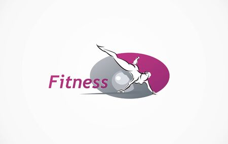 Fitness club logo symbol icon with exercising athletic woman isolated on white, gym vector illustration ball workout. Woman exercise art silhouette sign. Gym workout vector.
