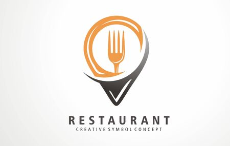 Creative design pin food restaurant location. Fresh and delicious food logo map concept. Stylized symbols, signs, vector emblem icons and logos for bistro, bar, cafe, bakery, dinner. Illusztráció