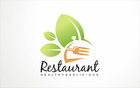 Healthy fresh food restaurant design concept location icon. Love food. Stylized symbols and signs for vegan restaurant. Vector emblem layouts. Stock fotó - 132554616