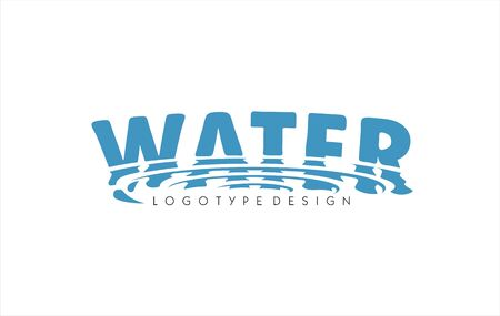Water word logo. Swirl drop reflection water ripple filter effect. Wave  smudge water surface refraction. Aqua fresh free symbol, sign or icon.